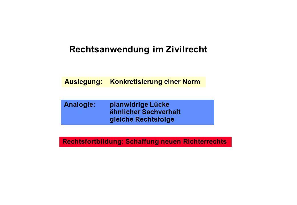 Rechtsanwendung im Zivilrecht Auslegung: Konkretisierung einer Norm Analogie: planwidrige Lücke ähnlicher Sachverhalt gleiche Rechtsfolge Rechtsfortbildung: Schaffung neuen Richterrechts