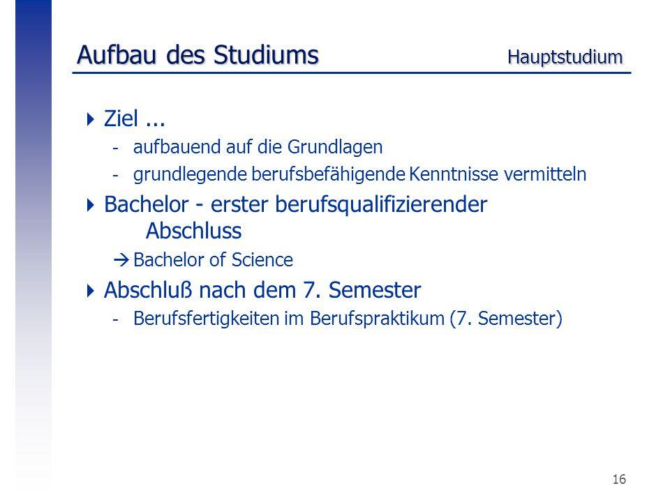 16 Aufbau des Studiums Hauptstudium  Ziel... -aufbauend auf die Grundlagen -grundlegende berufsbefähigende Kenntnisse vermitteln  Bachelor - erster