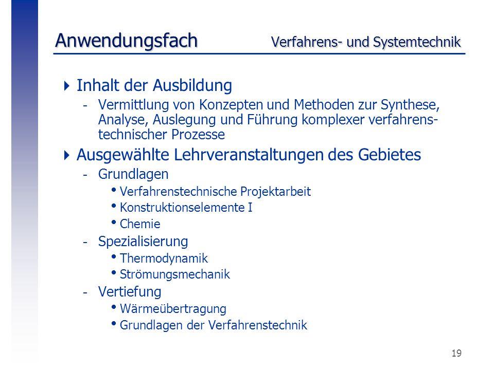 19 Anwendungsfach Verfahrens- und Systemtechnik  Inhalt der Ausbildung -Vermittlung von Konzepten und Methoden zur Synthese, Analyse, Auslegung und F