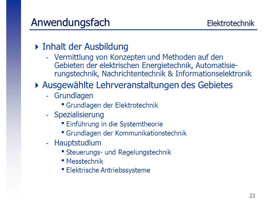 23 Anwendungsfach Elektrotechnik  Inhalt der Ausbildung -Vermittlung von Konzepten und Methoden auf den Gebieten der elektrischen Energietechnik, Aut