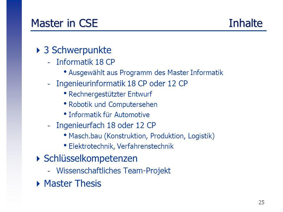 25 Master in CSE Inhalte  3 Schwerpunkte -Informatik 18 CP  Ausgewählt aus Programm des Master Informatik -Ingenieurinformatik 18 CP oder 12 CP  Re
