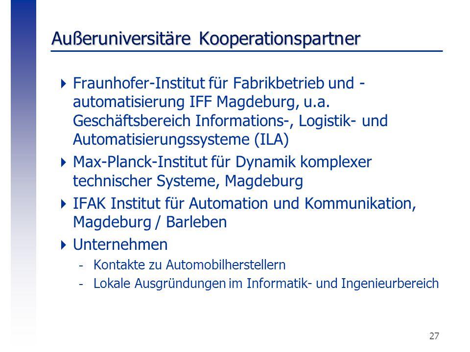 27 Außeruniversitäre Kooperationspartner  Fraunhofer-Institut für Fabrikbetrieb und - automatisierung IFF Magdeburg, u.a. Geschäftsbereich Informatio