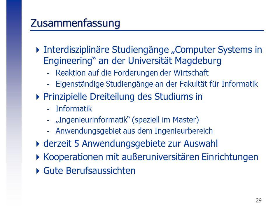 """29 Zusammenfassung  Interdisziplinäre Studiengänge """"Computer Systems in Engineering"""" an der Universität Magdeburg -Reaktion auf die Forderungen der W"""