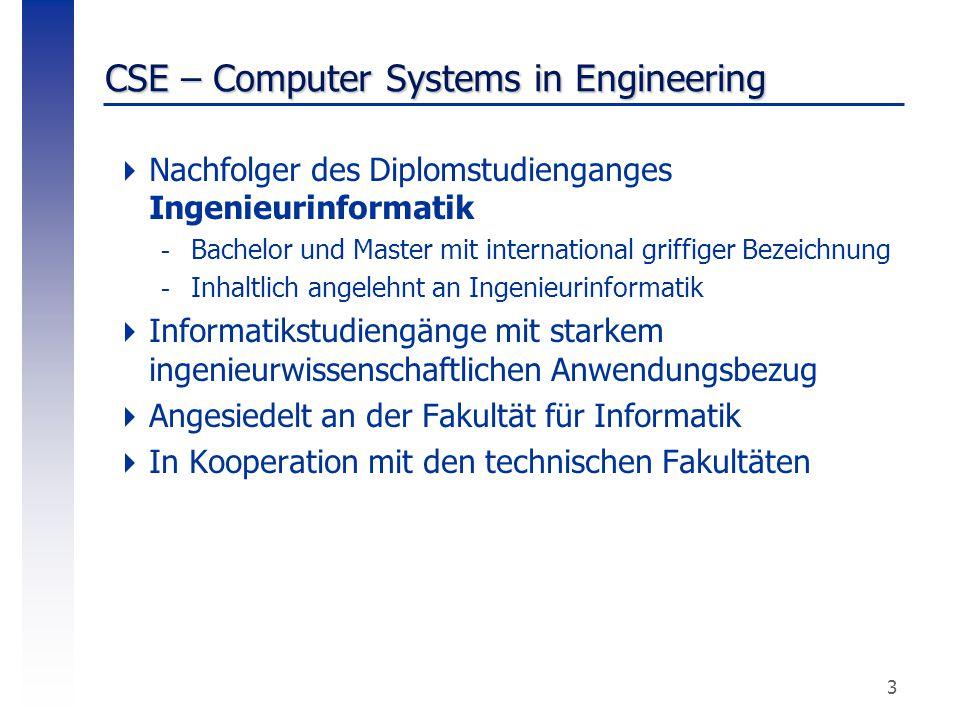 3 CSE – Computer Systems in Engineering  Nachfolger des Diplomstudienganges Ingenieurinformatik -Bachelor und Master mit international griffiger Beze