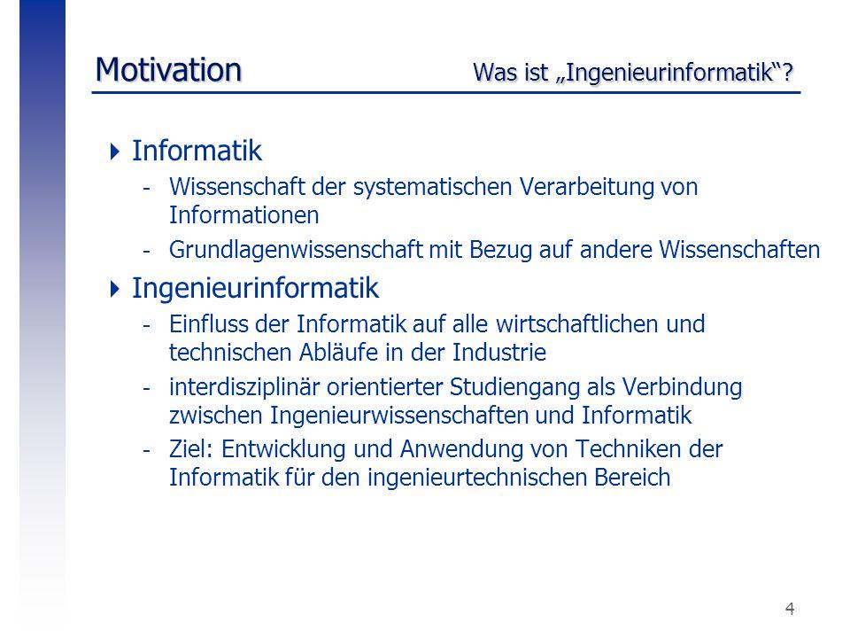 """5 Motivation Bedeutung (1) """"Informatik und Ingenieurwissenschaften wachsen zusammen, indem sie schon in vielen Fällen gleiche Anwendungsgebiete besetzen. [VDI-Nachrichten]  Gründe sind..."""