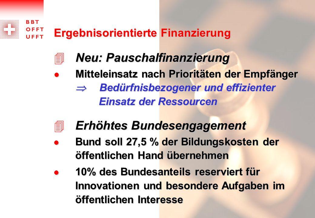 Ergebnisorientierte Finanzierung 4Neu: Pauschalfinanzierung Mitteleinsatz nach Prioritäten der Empfänger  Bedürfnisbezogener und effizienter Einsatz