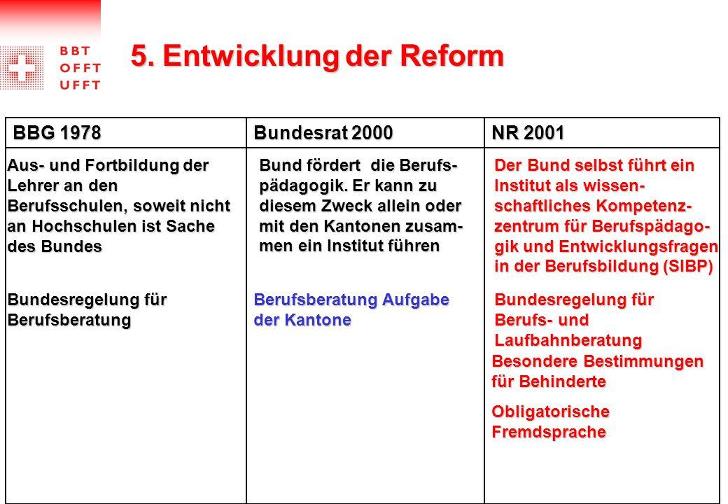 5. Entwicklung der Reform BBG 1978 Bundesrat 2000 NR 2001 Besondere Bestimmungen für Behinderte Bundesregelung für Berufsberatung Berufsberatung Aufga