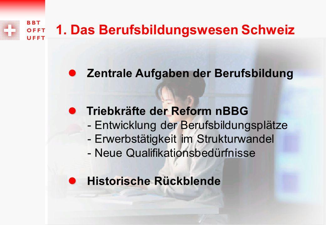 Zentrale Aufgaben der Berufsbildung Triebkräfte der Reform nBBG - Entwicklung der Berufsbildungsplätze - Erwerbstätigkeit im Strukturwandel - Neue Qua