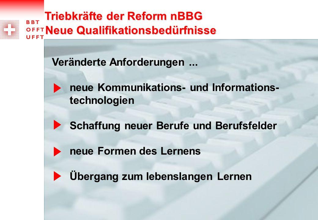 Neue Qualifikationsbedürfnisse Triebkräfte der Reform nBBG Veränderte Anforderungen... neue Kommunikations- und Informations- technologien Schaffung n