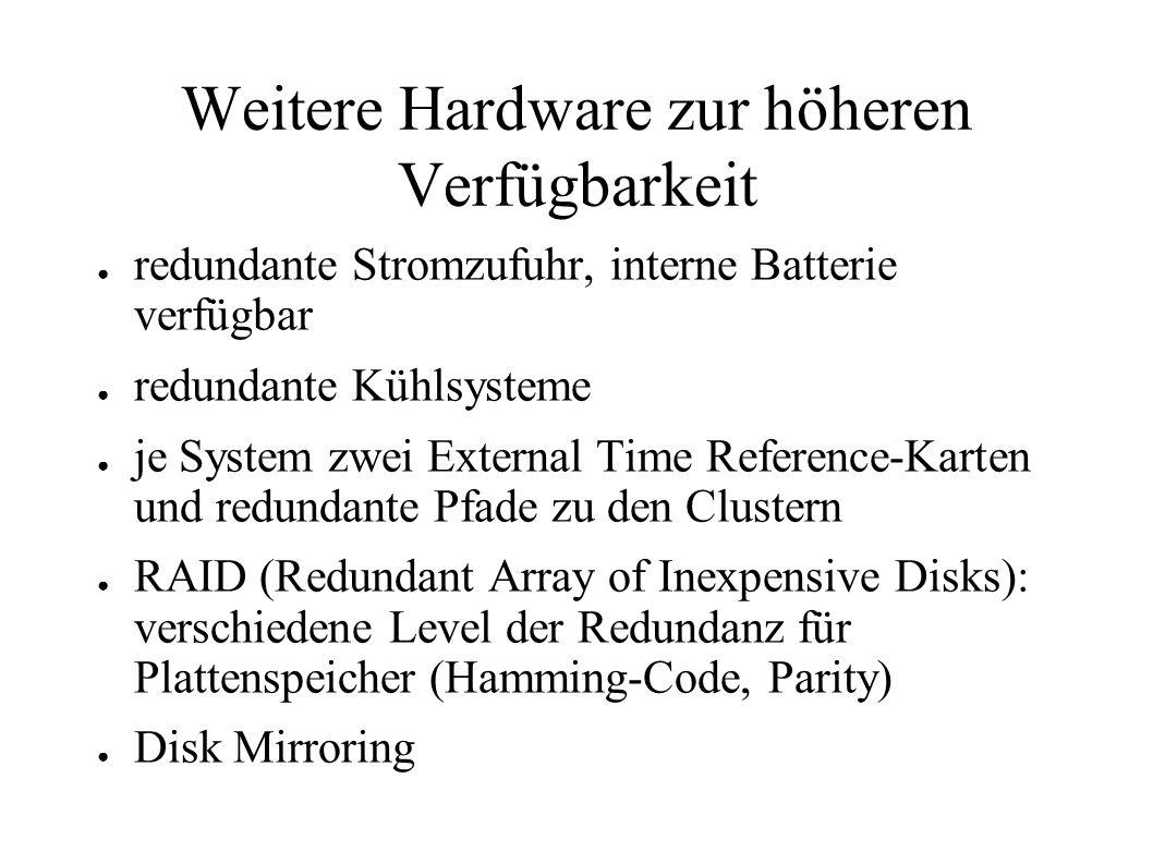 Weitere Hardware zur höheren Verfügbarkeit ● redundante Stromzufuhr, interne Batterie verfügbar ● redundante Kühlsysteme ● je System zwei External Time Reference-Karten und redundante Pfade zu den Clustern ● RAID (Redundant Array of Inexpensive Disks): verschiedene Level der Redundanz für Plattenspeicher (Hamming-Code, Parity) ● Disk Mirroring