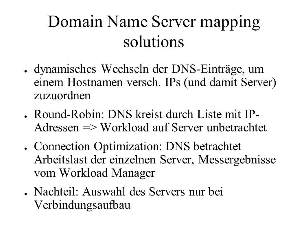 Domain Name Server mapping solutions ● dynamisches Wechseln der DNS-Einträge, um einem Hostnamen versch.