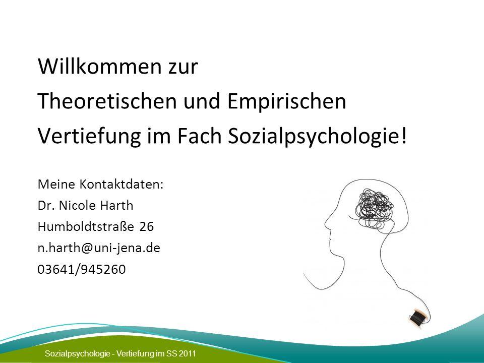 Sozialpsychologie - Vertiefung im SS 2011 Willkommen zur Theoretischen und Empirischen Vertiefung im Fach Sozialpsychologie! Meine Kontaktdaten: Dr. N