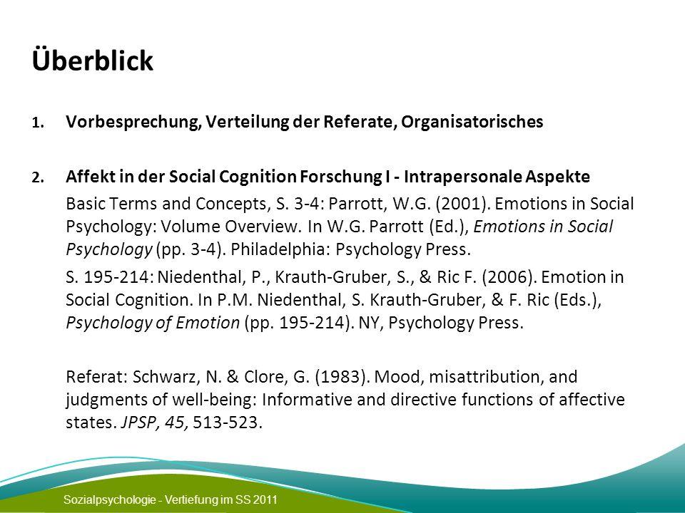 Sozialpsychologie - Vertiefung im SS 2011 Überblick 1. Vorbesprechung, Verteilung der Referate, Organisatorisches 2. Affekt in der Social Cognition Fo