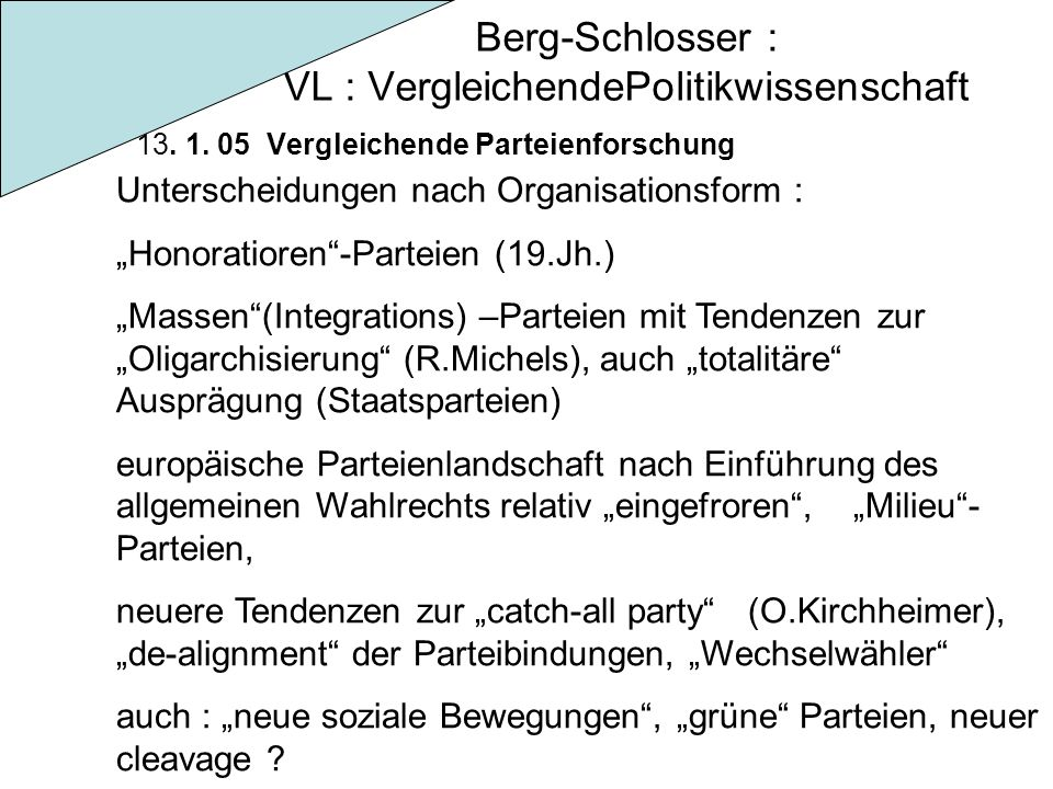 """Berg-Schlosser : VL : VergleichendePolitikwissenschaft 13. 1. 05 Vergleichende Parteienforschung Unterscheidungen nach Organisationsform : """"Honoratior"""
