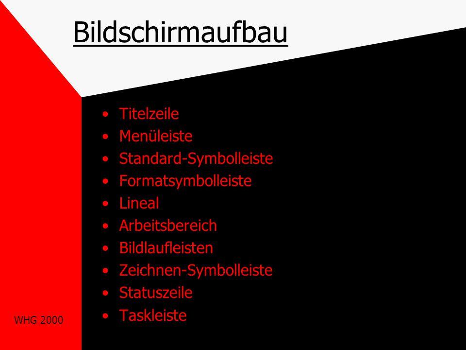 WHG 2000 Bildschirmaufbau Titelzeile Menüleiste Standard-Symbolleiste Formatsymbolleiste Lineal Arbeitsbereich Bildlaufleisten Zeichnen-Symbolleiste Statuszeile Taskleiste