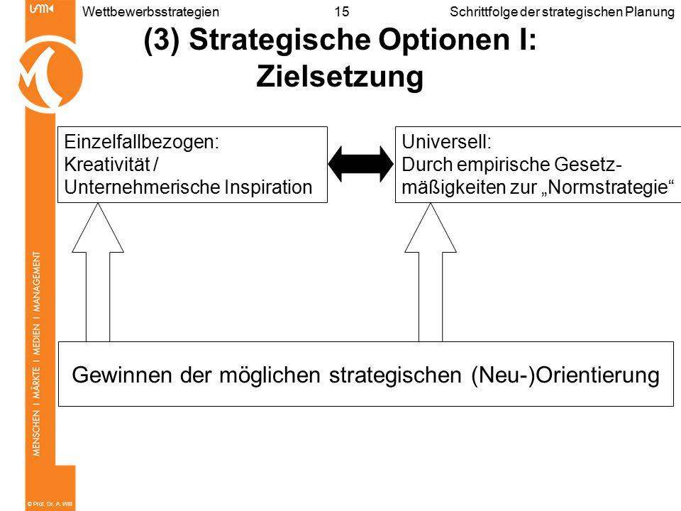 © Prof. Dr. A. Will 15WettbewerbsstrategienSchrittfolge der strategischen Planung (3) Strategische Optionen I: Zielsetzung Gewinnen der möglichen stra