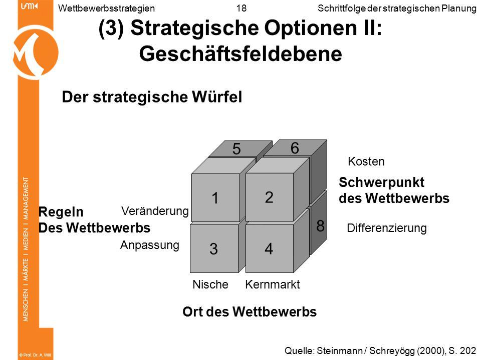 © Prof. Dr. A. Will 18WettbewerbsstrategienSchrittfolge der strategischen Planung (3) Strategische Optionen II: Geschäftsfeldebene Der strategische Wü