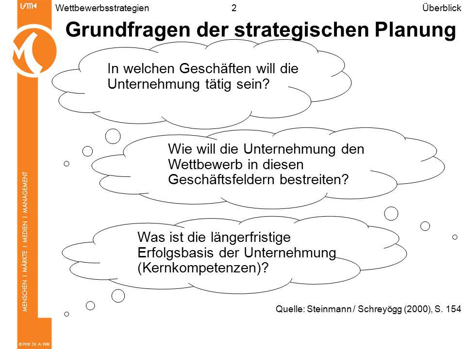 © Prof. Dr. A. Will 2Wettbewerbsstrategien Grundfragen der strategischen Planung Überblick Quelle: Steinmann / Schreyögg (2000), S. 154 In welchen Ges