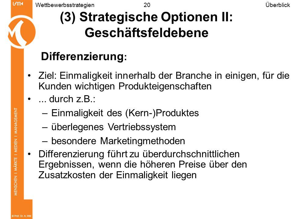 © Prof. Dr. A. Will 20Wettbewerbsstrategien Ziel: Einmaligkeit innerhalb der Branche in einigen, für die Kunden wichtigen Produkteigenschaften... durc