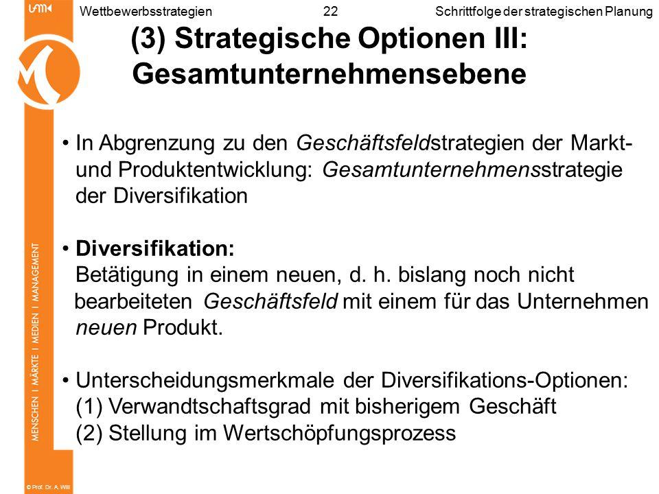 © Prof. Dr. A. Will 22WettbewerbsstrategienSchrittfolge der strategischen Planung (3) Strategische Optionen III: Gesamtunternehmensebene In Abgrenzung