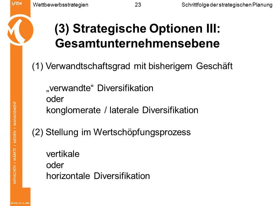© Prof. Dr. A. Will 23WettbewerbsstrategienSchrittfolge der strategischen Planung (3) Strategische Optionen III: Gesamtunternehmensebene (1) Verwandts