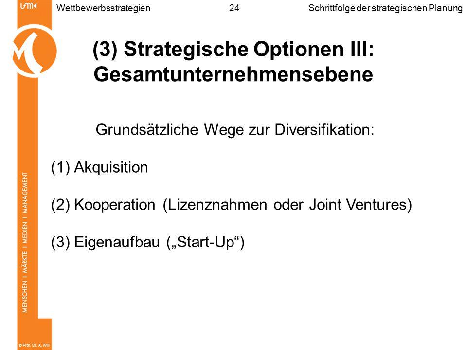 © Prof. Dr. A. Will 24WettbewerbsstrategienSchrittfolge der strategischen Planung (3) Strategische Optionen III: Gesamtunternehmensebene Grundsätzlich