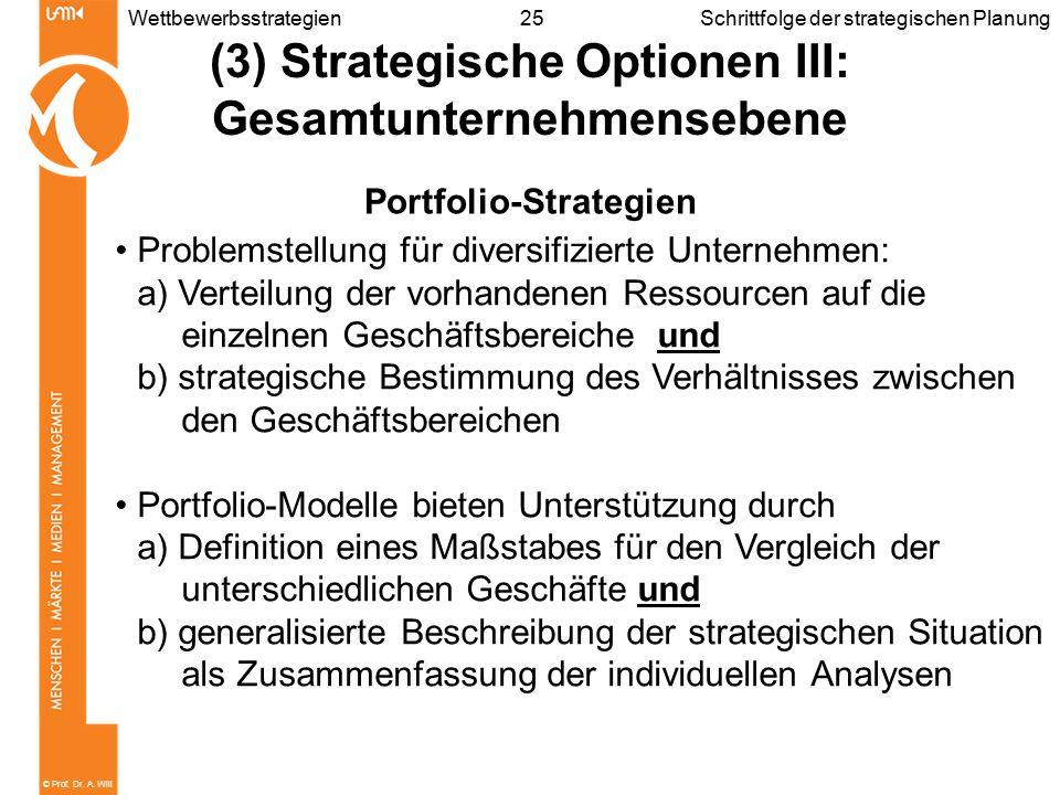 © Prof. Dr. A. Will 25WettbewerbsstrategienSchrittfolge der strategischen Planung (3) Strategische Optionen III: Gesamtunternehmensebene Portfolio-Str