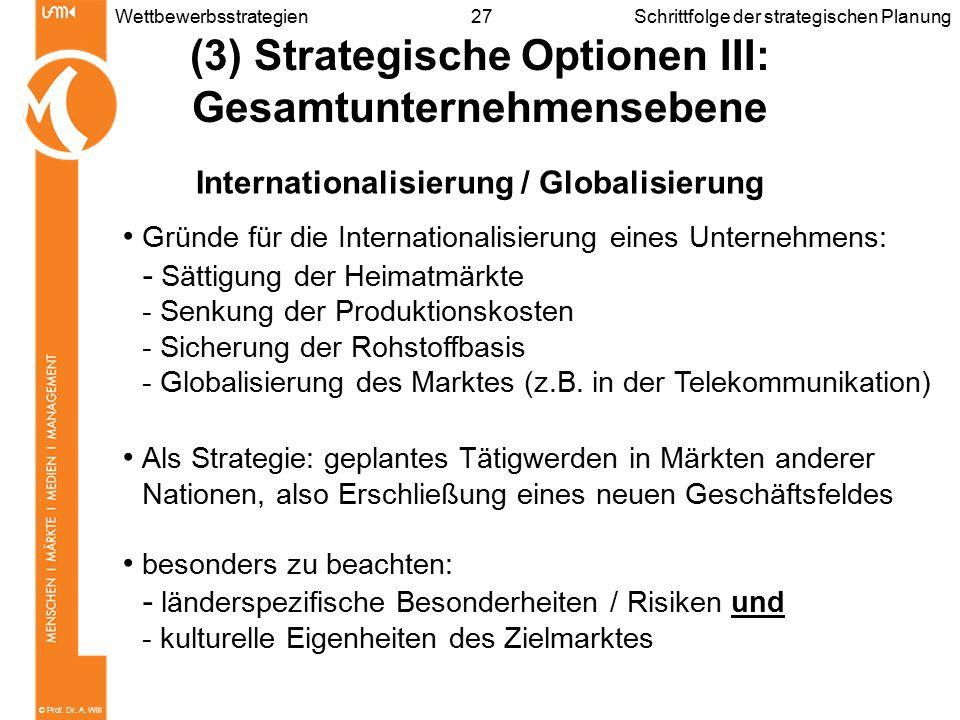 © Prof. Dr. A. Will 27WettbewerbsstrategienSchrittfolge der strategischen Planung (3) Strategische Optionen III: Gesamtunternehmensebene International