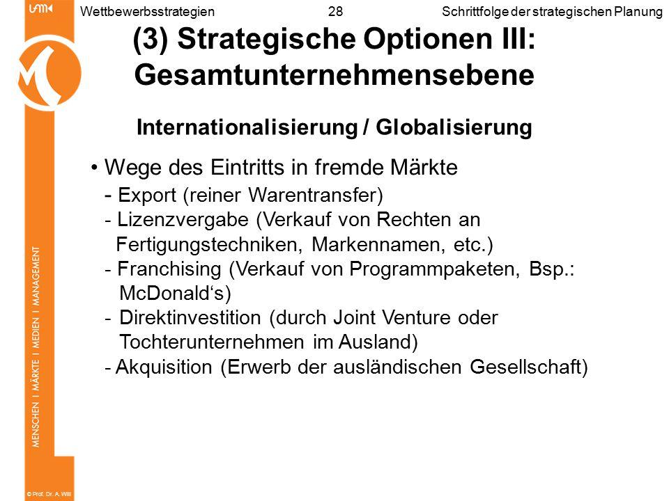 © Prof. Dr. A. Will 28WettbewerbsstrategienSchrittfolge der strategischen Planung (3) Strategische Optionen III: Gesamtunternehmensebene International