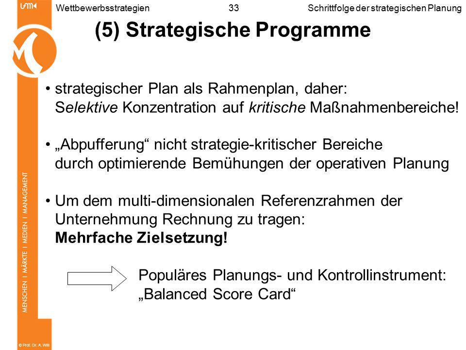 © Prof. Dr. A. Will 33WettbewerbsstrategienSchrittfolge der strategischen Planung (5) Strategische Programme strategischer Plan als Rahmenplan, daher: