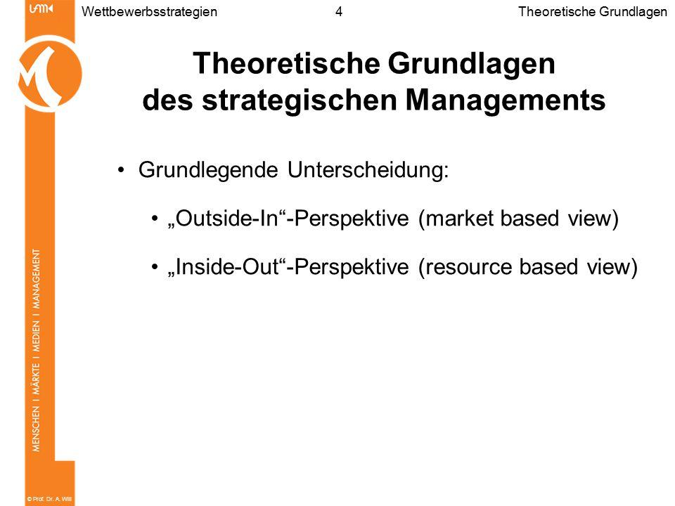 """© Prof. Dr. A. Will 4Wettbewerbsstrategien Theoretische Grundlagen des strategischen Managements Grundlegende Unterscheidung: """"Outside-In""""-Perspektive"""
