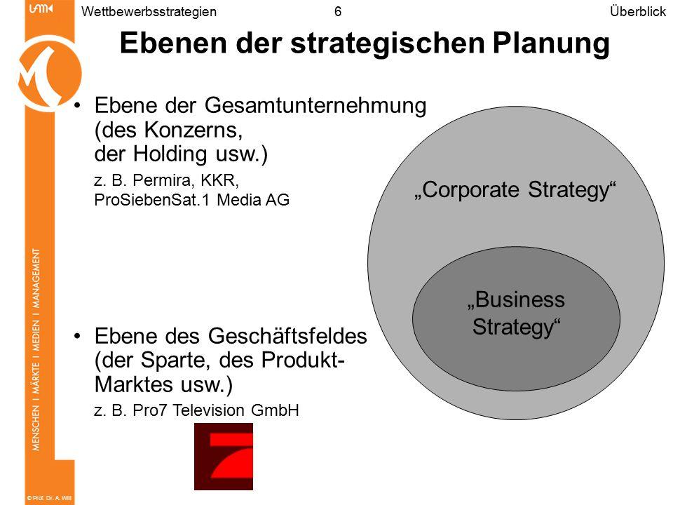 © Prof. Dr. A. Will 6 Ebenen der strategischen Planung Wettbewerbsstrategien Ebene der Gesamtunternehmung (des Konzerns, der Holding usw.) z. B. Permi
