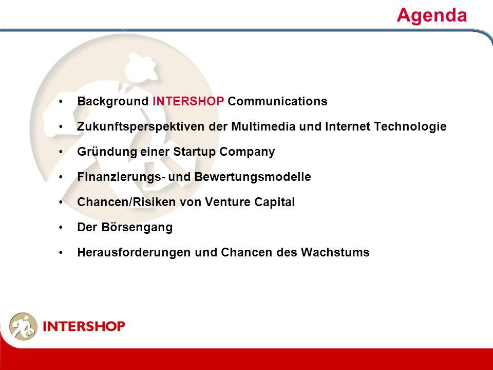 Agenda Background INTERSHOP Communications Zukunftsperspektiven der Multimedia und Internet Technologie Gründung einer Startup Company Finanzierungs-
