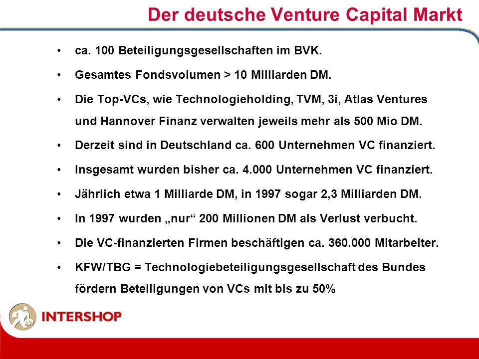Der deutsche Venture Capital Markt ca. 100 Beteiligungsgesellschaften im BVK. Gesamtes Fondsvolumen > 10 Milliarden DM. Die Top-VCs, wie Technologieho