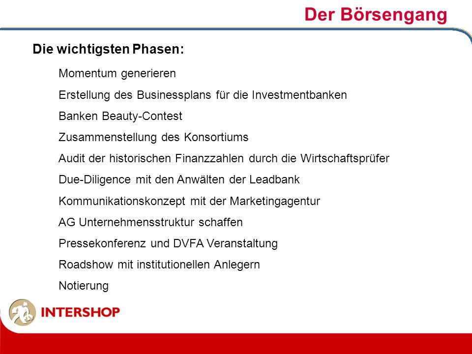Der Börsengang Momentum generieren Erstellung des Businessplans für die Investmentbanken Banken Beauty-Contest Zusammenstellung des Konsortiums Audit
