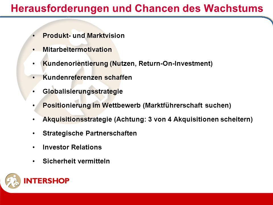 Produkt- und Marktvision Mitarbeitermotivation Kundenorientierung (Nutzen, Return-On-Investment) Kundenreferenzen schaffen Globalisierungsstrategie Po