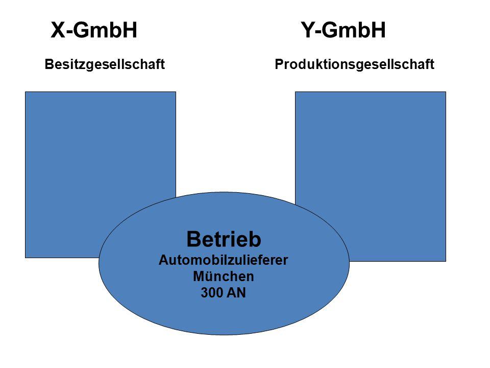 X-GmbH Y-GmbH Besitzgesellschaft Produktionsgesellschaft Betrieb Automobilzulieferer München 300 AN