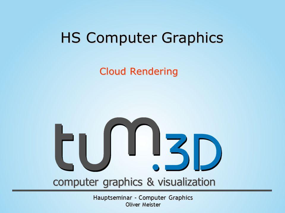 Hauptseminar – Computer Graphics Oliver Meister computer graphics & visualization HS Computer Graphics Cloud Rendering
