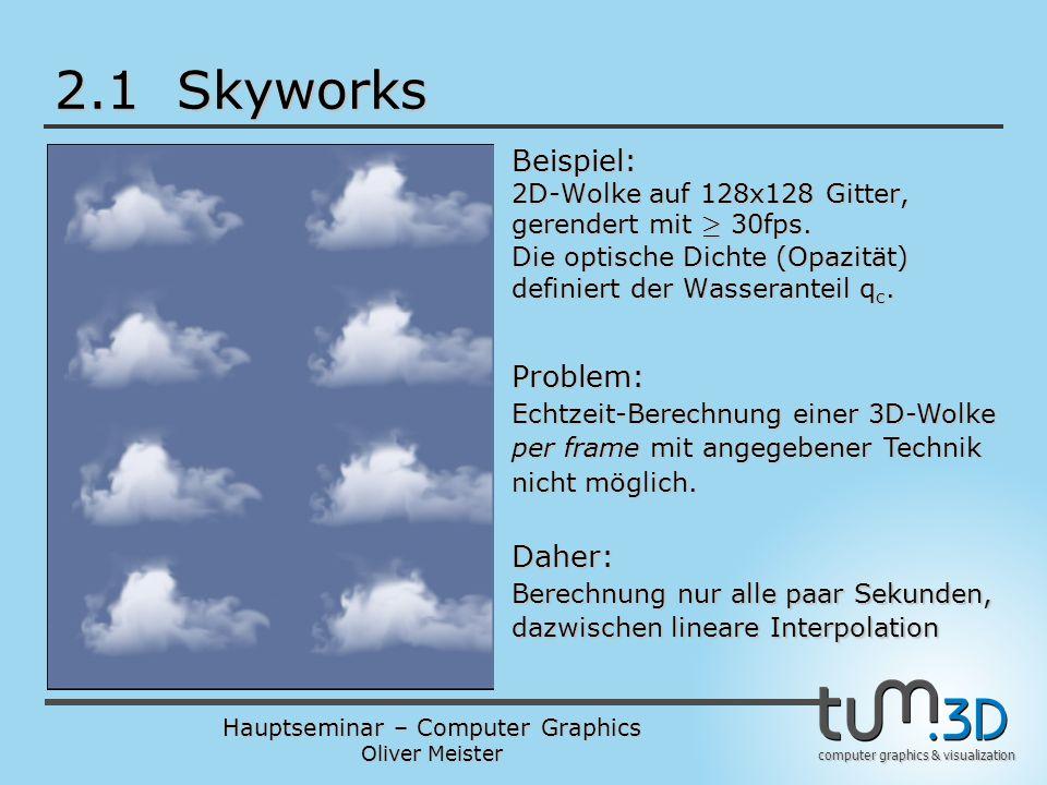 Hauptseminar – Computer Graphics Oliver Meister computer graphics & visualization 2.1 Skyworks Beispiel: 2D-Wolke auf 128x128 Gitter, gerendert mit ¸ 30fps.