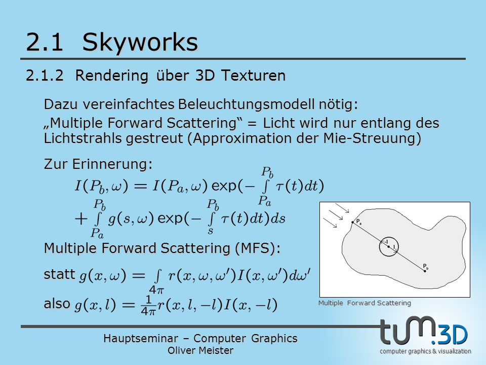 Hauptseminar – Computer Graphics Oliver Meister computer graphics & visualization 2.1 Skyworks 2.1.2 Rendering über 3D Texturen Multiple Forward Scatt