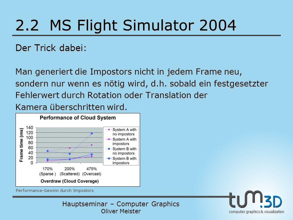 Hauptseminar – Computer Graphics Oliver Meister computer graphics & visualization 2.2 MS Flight Simulator 2004 Der Trick dabei: Man generiert die Impostors nicht in jedem Frame neu, sondern nur wenn es nötig wird, d.h.