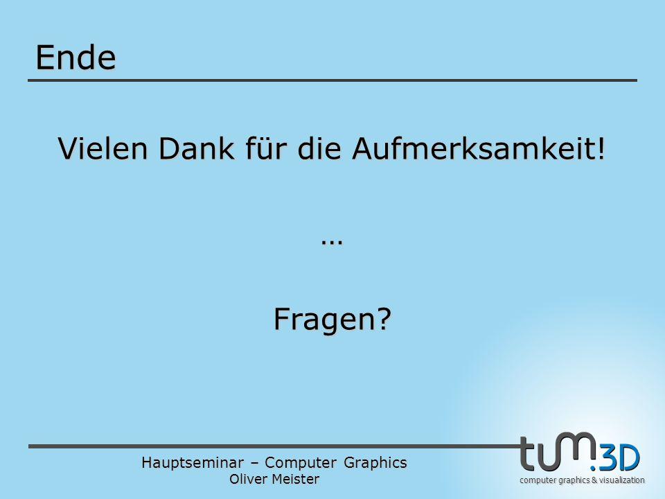 Hauptseminar – Computer Graphics Oliver Meister computer graphics & visualization Ende Vielen Dank für die Aufmerksamkeit.
