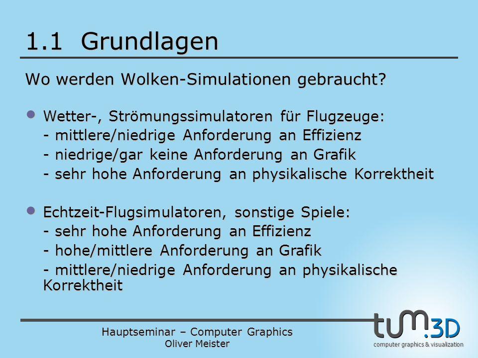 Hauptseminar – Computer Graphics Oliver Meister computer graphics & visualization 1.1 Grundlagen Wo werden Wolken-Simulationen gebraucht.
