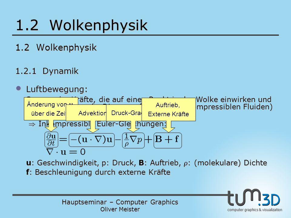 Hauptseminar – Computer Graphics Oliver Meister computer graphics & visualization 1.2 Wolkenphysik 1.2.1 Dynamik Luftbewegung: Luftbewegung: Summe der Kräfte, die auf einen Punkt in der Wolke einwirken und Massenerhaltung (= Divergenzfreiheit bei inkompressiblen Fluiden) ) Inkompressible Euler-Gleichungen: ) Inkompressible Euler-Gleichungen: u: Geschwindigkeit, p: Druck, B: Auftrieb, : (molekulare) Dichte f: Beschleunigung durch externe Kräfte Änderung von u über die Zeit t Advektion Druck-Gradient Auftrieb, Externe Kräfte