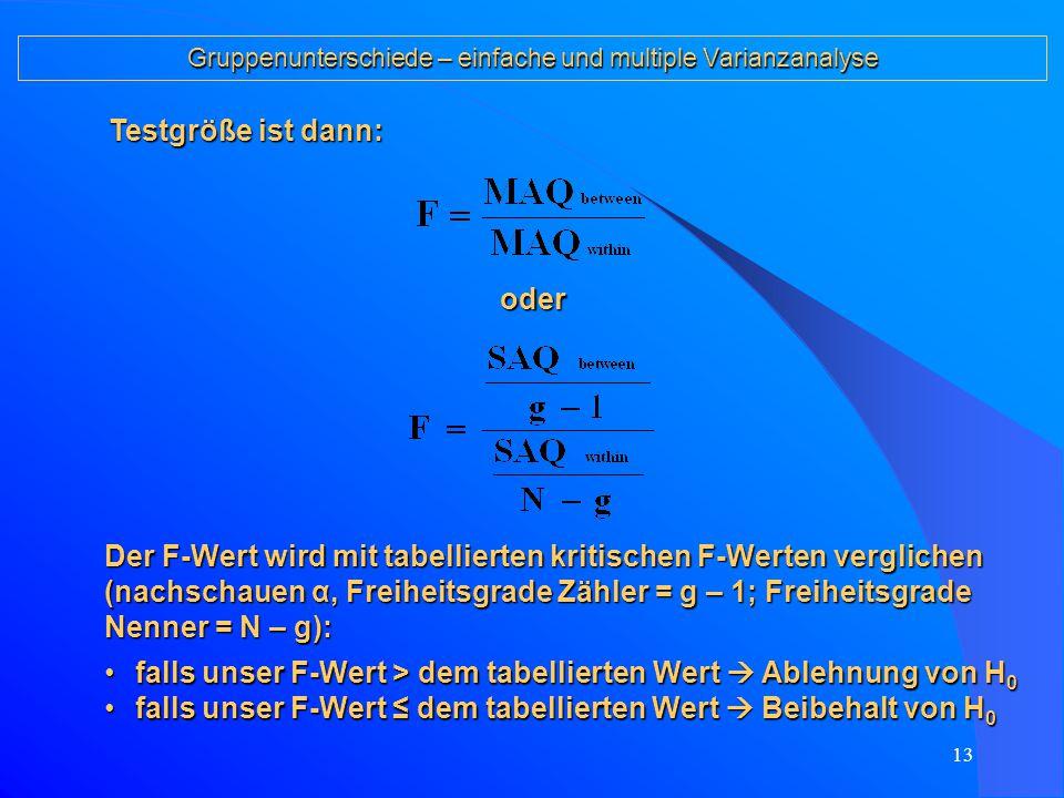 12 Gruppenunterschiede – einfache und multiple Varianzanalyse 6.Formalisierung der Grundidee: Zerlegung der Messwerte in: Es gilt dann (SAQ = Summe der Abweichungsquadrate): SAQs sind abhängig von den Fallzahlen  Bildung mittlerer Abweichungsquadrate MAQ: g = Anzahl Gruppen N = Anzahl Fälle ins- gesamt