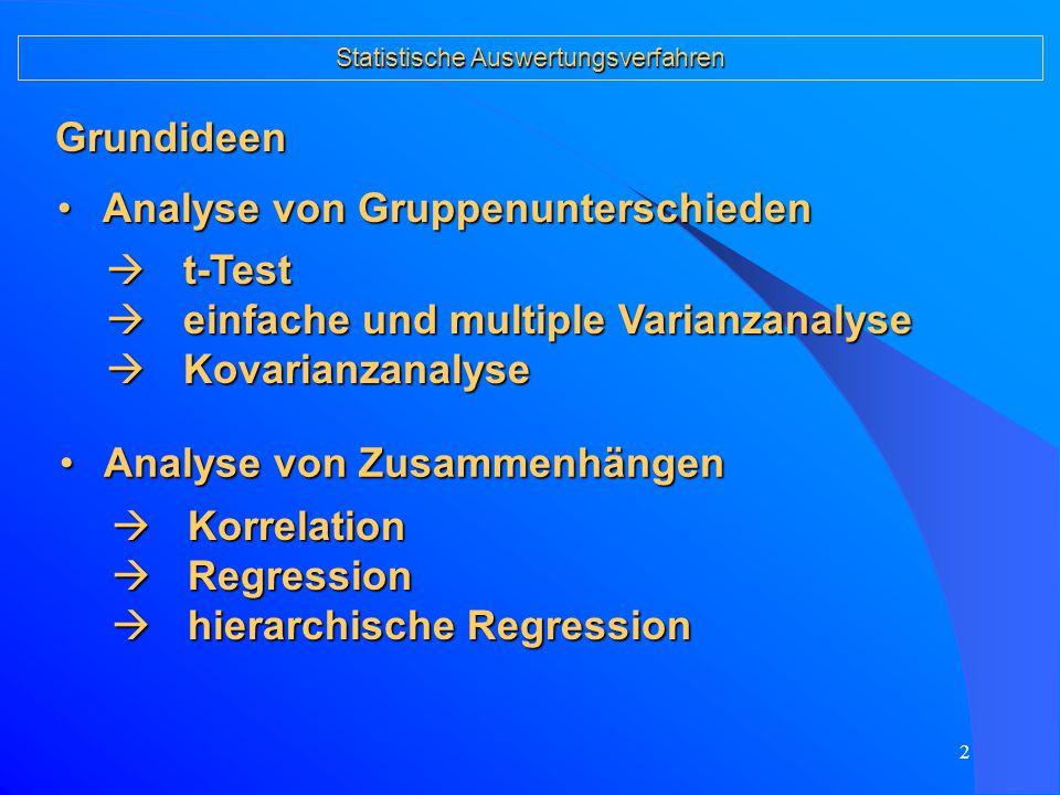 1 SS 2006 Langzeitauswirkungen von frühpädagogischen Betreuungen Statistische Auswertungsverfahren