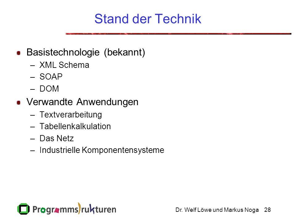 Dr. Welf Löwe und Markus Noga28 Stand der Technik Basistechnologie (bekannt) –XML Schema –SOAP –DOM Verwandte Anwendungen –Textverarbeitung –Tabellenk