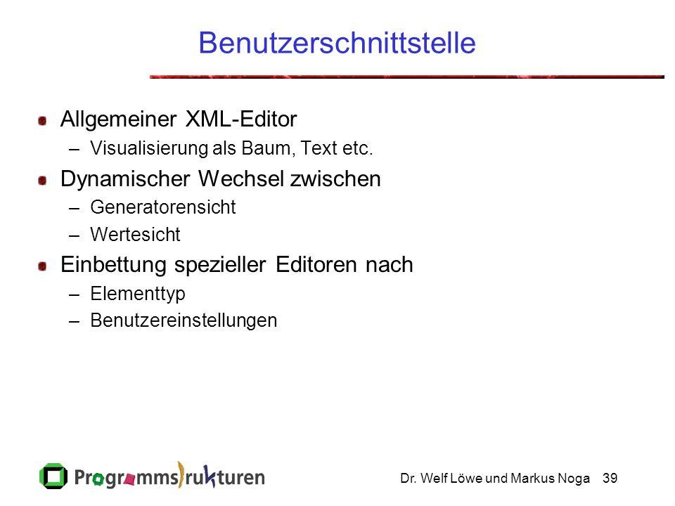 Dr. Welf Löwe und Markus Noga39 Benutzerschnittstelle Allgemeiner XML-Editor –Visualisierung als Baum, Text etc. Dynamischer Wechsel zwischen –Generat