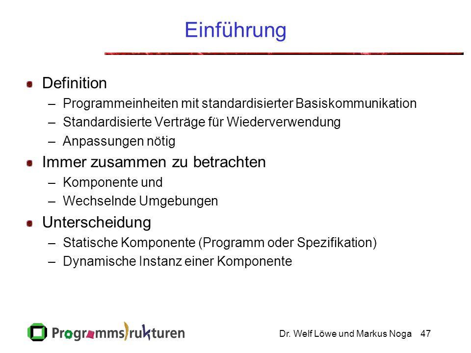 Dr. Welf Löwe und Markus Noga47 Einführung Definition –Programmeinheiten mit standardisierter Basiskommunikation –Standardisierte Verträge für Wiederv