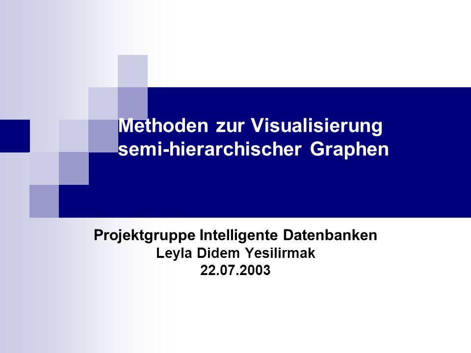 Methoden zur Visualisierung semi-hierarchischer Graphen Projektgruppe Intelligente Datenbanken Leyla Didem Yesilirmak 22.07.2003